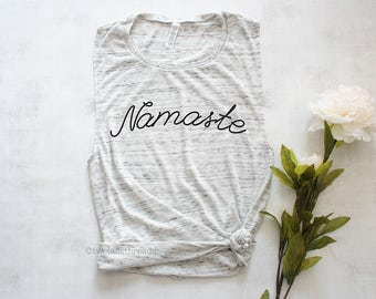 Namaste muscle tank top shirt, yoga tank top shirt, cute yoga shirt, trendy yoga shirt, yoga workout shirt