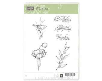 Stampin Up! Simply Sketched  CLEAR - mount Stamp Set Brand New (NIP)