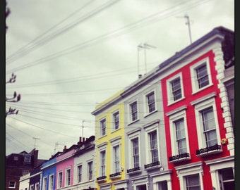 Square Photograph - Notting Hill Print - London Photography - Colourful Houses