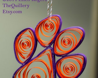 Quilled Clemson Tiger Paw Orange & Purple Paper Christmas Ornament or Window Decoration Football Handmade