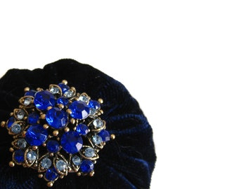 """2"""" Navy Velvet Pincushion Filled With Abrasive Emery Mineral To Keep Your Needles Clean & Sharp"""