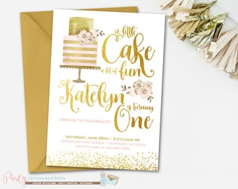 Pink and Gold Birthday Invitation, Pink and Gold Invitation, Cake Birthday Invitation, Cake Invitation, A little Cake a lot of Fun, Gold