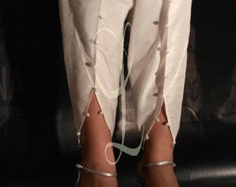 Tulip Pant / Cotton Raw Silk / Pearl Beads / White Tulip Pant / Beige Tulip Pant / Black Tulip Pant