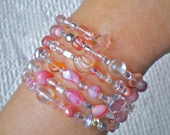 Bracelet Pink Beaded Wrap Whisper-Soft Mix