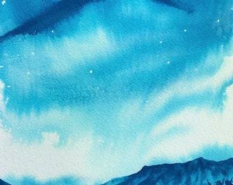 Inky Blue Watercolor Painting Blue Sky Watercolor Landscape Painting 8x10 Original Art