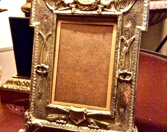 Antique Solid Brass Military Frame Civil War-Style Motif with Attached Easel, Swords Rifles American Eagle Design