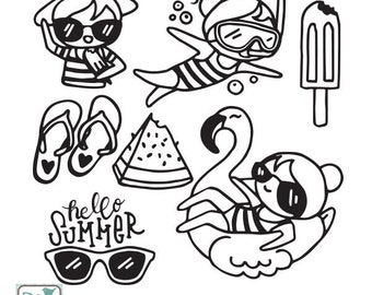 Planner Girl - Summer Stamp Clipart - Planner Stickers, scrapbook , card design, invitations, paper crafts, INSTANT DOWNLOAD