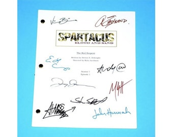 """Spartacus Pilot """"The Red Serpent"""" TV Script Screenplay Autographed: Steven S. Deknight, Andy Whitfield, Lucy Lawless, Manu Bennett"""