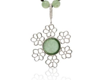 Lovely Roman Glass Snowflake Flower pendant, roman glass Necklace, Sterling Silver Roman Glass Necklace, one-of-a-kind israeli jewlery