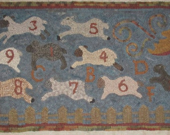Primitive Rug Hooking Pattern~Counting Sheep