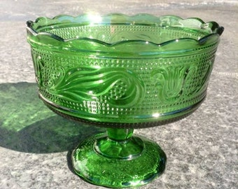 Vintage Green E. O Brody Co  Beaded Pedestal Candy Dish.