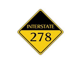 INTERSTATE 278 Highway Metal Aluminum Road Novelty Sign 12x12