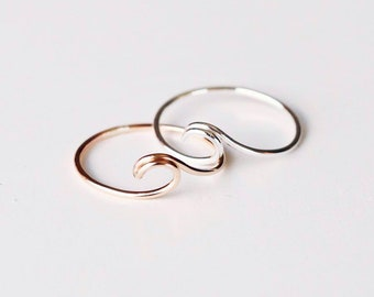 R1093 Gold Fill/Sterling Silver Wave Curve Ring
