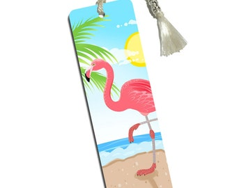 Flamingo On The Beach Printed Bookmark With Tassel