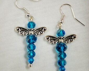 Crystal Glass Deep Blue Dragonfly Earrings