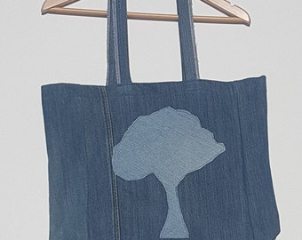 Up-Cycled Denim Tree Tote Bag - Market Bag - Book Bag