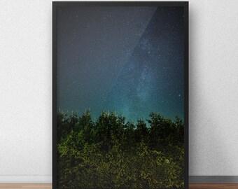 Starry Night Digital Print, Milky Way Print, Stars Poster, Star Wall Art, Star Photography Printable, Night Sky Photo, Star Sky Print