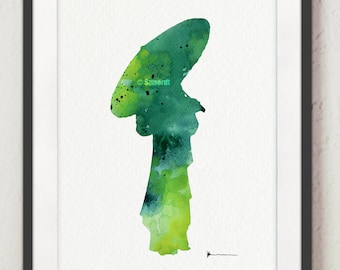 Geisha Watercolor Painting, Custom Woman Silhouette, Japanese Umbrella Image