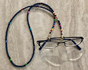 Blue Beaded Glasses Lanyard