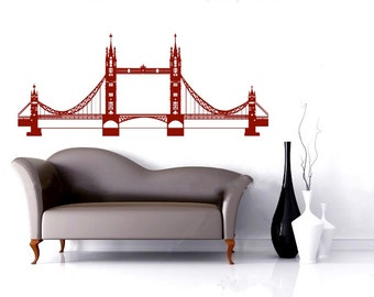 detailed London Bridge vinyl Wall DECAL- England, UK urban city interior design, sticker art, room, home and business decor
