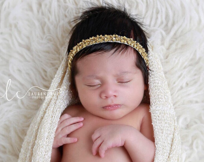 GOLD - SILVER - or RED - Sequin and Beaded Headband for Photo Shoots for newborns to adult. Photoprop, newborn, photographer, baby headband