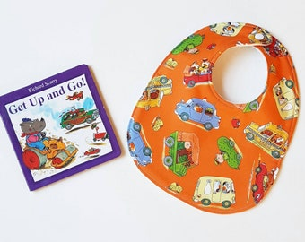 Busytown Orange Richard Scarry Huckle transport car truck round baby bib