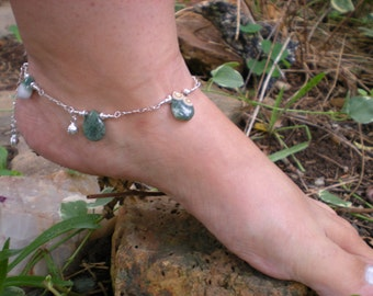 Siren song anklet, ocean jasper ankle bracelet, sterling silver, bells, sea & shore collection, unique jewelry by Grey Girl Designs on Etsy