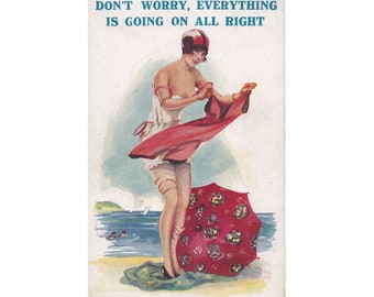 """Vintage UK XL-Series 1016 Risque postcard Bathing Beauty Glamour Seaside theme. """"Don't worry, everything is going on all right"""""""