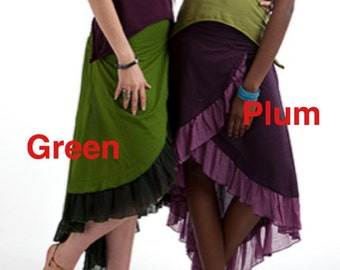Sale - FLAMENCO skirt, ASSORTED COLOURs - bohemian skirt, Gypsy skirt, ethnic skirt, goa Skirt, Gypsie Skirt, Pixie Skirt, CVSKCFsm