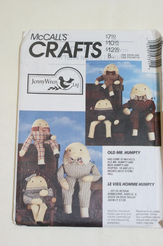 Vintage McCall\'s 5731 Crafts Humpty Dumpty Toy Sewing Pattern from ...