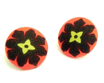 Fabric Button Earrings - Red and black flowers - Gold plated post