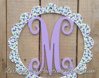 Initial door hanger, monogram, door hanger, door decor, home decor, last name, initials, hand painted, wood, wood hanger, wood sign, welcome