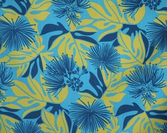 Hawaiian Print  Poly Cotton in Blue  (Yardage Available)