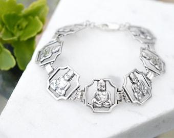 Sterling Silver Buddha Link Bracelet, Sterling Buddhist Jewelry, Buddha Link Bracelet, Zen Jewelry, Yoga Jewelry, Sterling Zen Bracelet