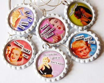 Funny Wine Charms, Sassy Women, Wine Glass Charms, Wine Charms, Humor, retro prints, bottlecap charms, ladies night (1305)