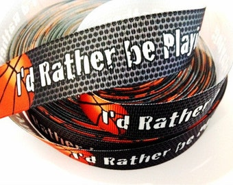 1 inch I'd Rather be Playing Basketball On Black and Gray Sports Printed Grosgrain Ribbon for Hair Bow