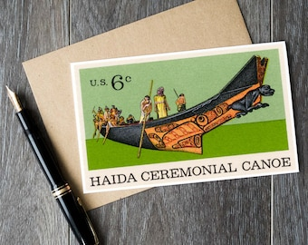 Haida art, Haida Canoe, Natural History, Museum of Natural History, US Postage Stamp, Native American art, US stamp art, postage stamp cards