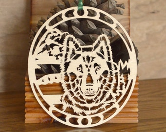 Wolf ornament woodcut Wolf decoration