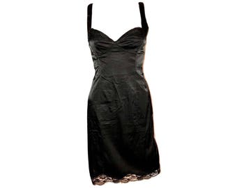 Vintage Black Satin Dress, Black Lace Dress, Little Black Dress, Slip Dress
