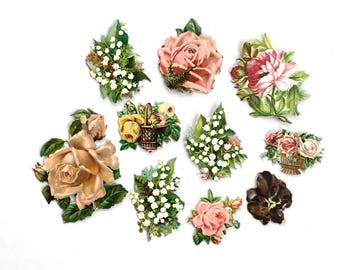 Victorian Die Cut Paper Scraps Embossed Lithograph Flower