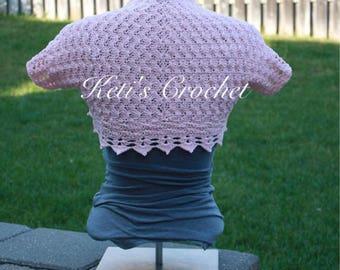 Crochet Bolero,Blush Pink Bolero,Pink Bolero,Cotton Crochet Bolero,Women's Crochet Bolero,Crochet Shrug,Crochet Sweater,Shrug,Pink Shrug