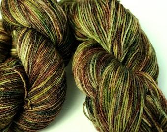 Woodlands Colorway: 100 grams Handdyed Merino/Tencel/Nylon Fingering Weight Yarn, Hand Dyed Sock Yarn, handdyed sock yarn