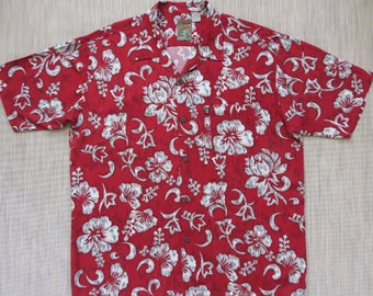 Red Hawaiian Shirt PINEAPPLE CONNECTION Mod Surfer Hibiscus Flower Power Floral Aloha Shirt Mens Vintage Camp - L - Oahu Lew's Shirt Shack