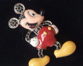Signed Swarovski Disney Mickey Mouse Pin Brooch Disney & Swarovski Logos