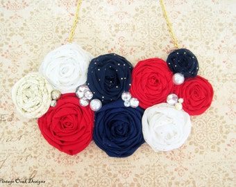 Americana Statement Necklace, Patriotic Statement Necklace, 4th of July Statement Necklace,Red White & Navy Necklace, Rosette Bib Necklace
