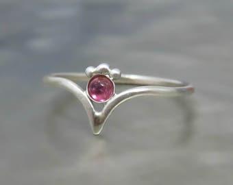 Pink Tourmaline Ring, Pink Stone Ring, Tiny Pink Tourmaline Ring