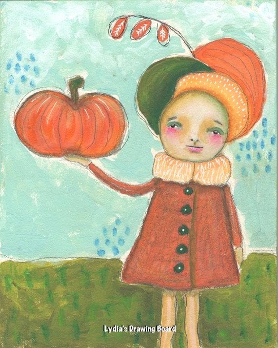 Girl Art, Pumpkin, Harvest, Harvest Art, Pumpkin Art, Fall Decor, Girls Room Wall Art, Whimsical Art, Mixed Media Print, Autumn Art, Autumn