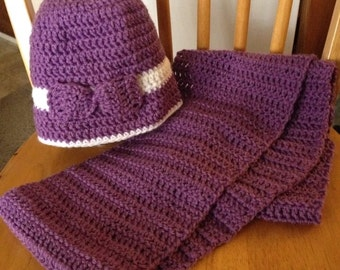 Purple infinity scarf with matching purple & white hat with ribbon