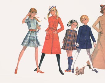 Vintage 70s Girls MOD MILITARY LOOK Coat and Dress in 3 Lengths Sewing Pattern McCalls 2575 Size 7