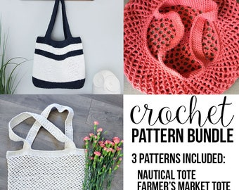Crochet Pattern Bundle - Patterns include: Nautical Tote, Farmer's Market Tote, & Mesh Grocery Tote - PDF Instant Download